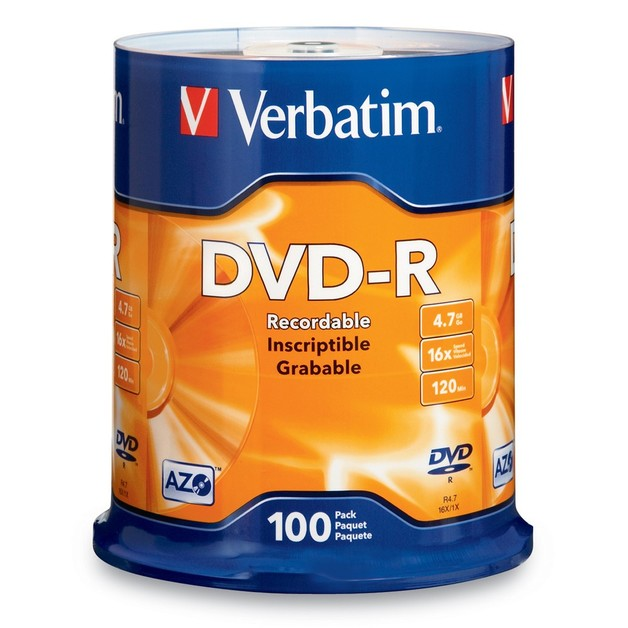 Verbatim DVD-R 4.7GB Spindle 16x (100 Pack)