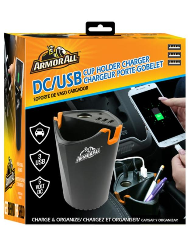 Armor All: DC/3USB Cup Holder Charger 2.1+1+1Amp