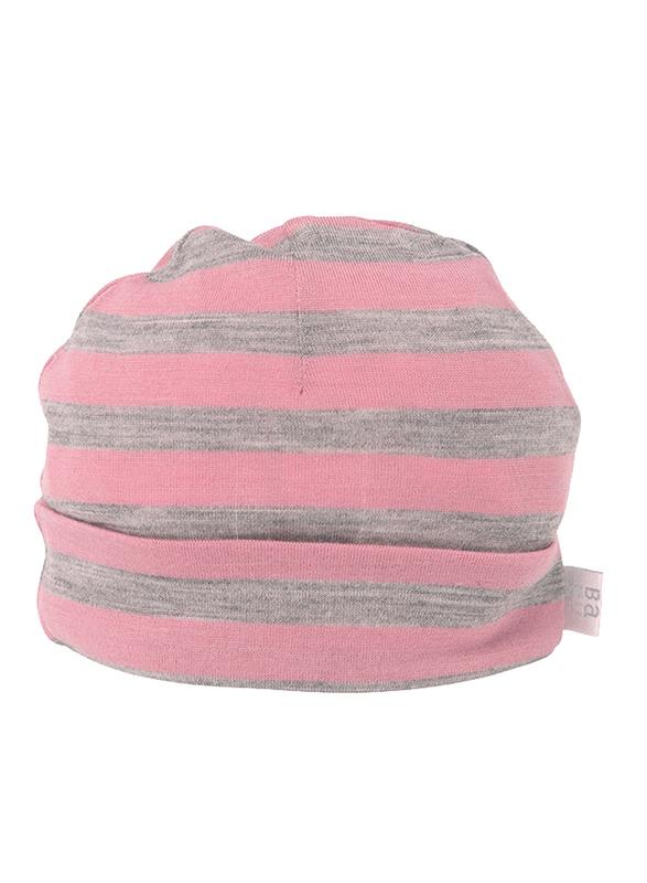 Babu: Merino Wool Hat - Pink Stripe (6-12m)