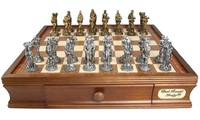 """Dal Rossi: Medieval - 16"""" Pewter Chess Set"""