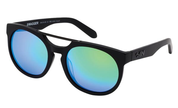 Sin Eyewear: Swagger Sunglasses - Matt Raven/Green Flash