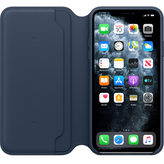 Apple: iPhone 11 Pro Max Leather Folio - Deep Sea Blue
