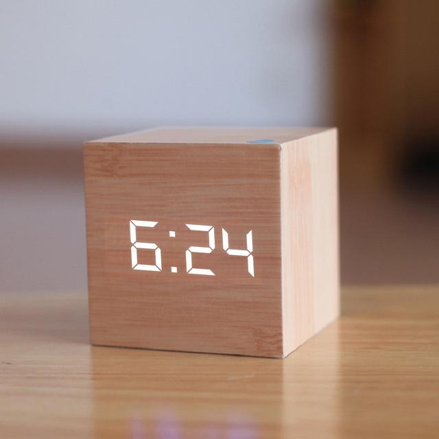 Wooden Grain Digital Voice Control Desk Alarm Clock - Bamboo image