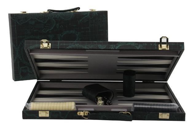 "Backgammon 15"" Case - Green World Map"