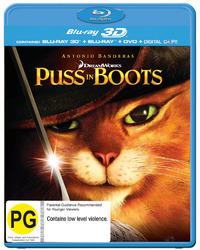 Puss in Boots (Blu-ray 3D / Blu-ray / DVD) (3 Disc Superset) on DVD, Blu-ray, 3D Blu-ray