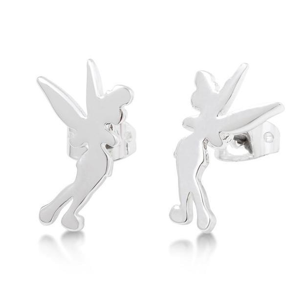 Disney: Tinker Bell Silhouette Stud Earrings- White Gold