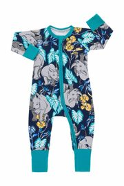 Bonds Zip Wondersuit Long Sleeve - Ron the Rhino Black Sea (6-9 Months)