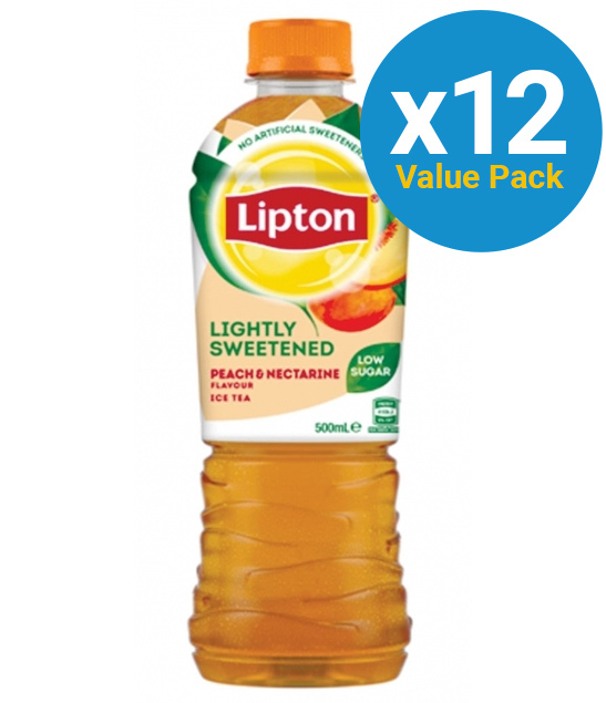Lipton Ice Tea Lightly Sweetened Peach & Nectarine 500ml (12 Pack) image