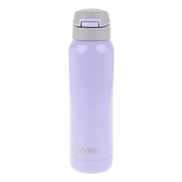 Oasis: Stainless Steel Insulated Drink Bottle W/Flip Straw Lid - Lilac (500ml)