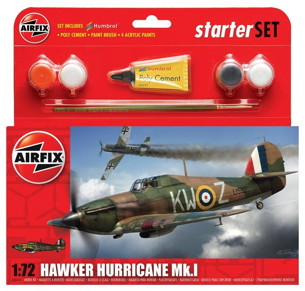 Airfix Hawker Hurricane MkI 1/72 Model Kit Starter Set