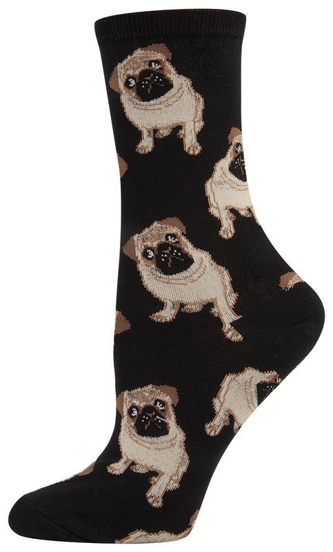 Socksmith: Womens Pugs Crew Socks - Black