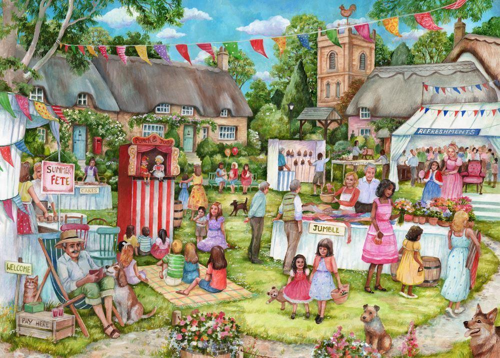 Holdson XL: 500 Piece Puzzle - The English Village S2 (Summer Fete) image