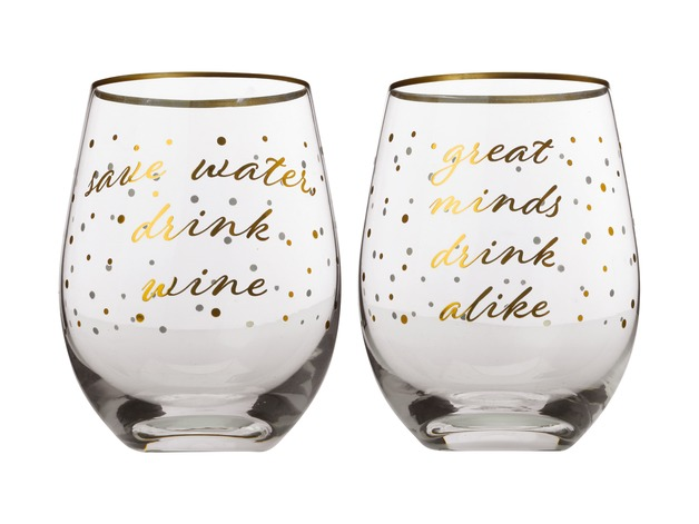 Maxwell & Williams Celebrations Stemless Glasses - Save Water / Great Minds