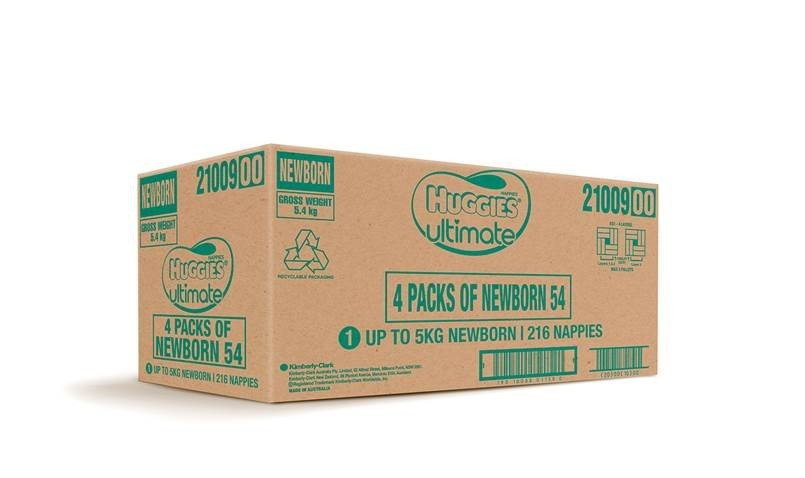 Huggies Ultimate Nappies Bulk Value Box - Size 1 Newborn (216) image