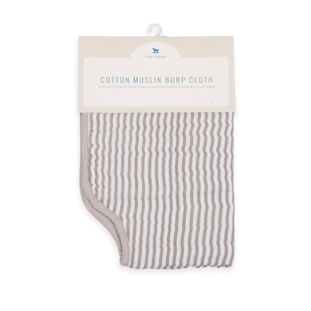 Little Unicorn: Muslin Burp Cloth - Grey Stripe