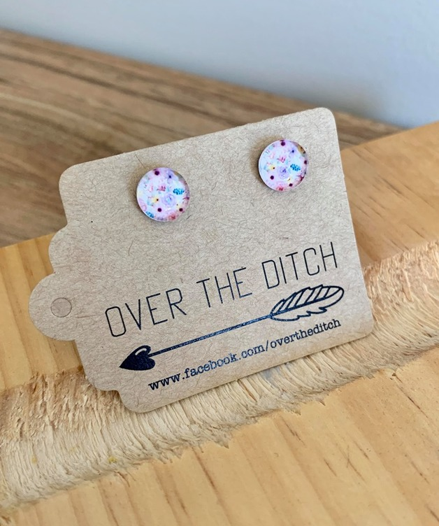 Over the Ditch: Dome Earrings - Watercolour Floral (8mm)