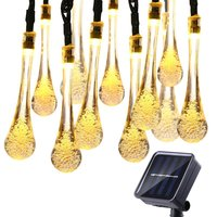 30 LED Solar Water Drop Fairy String Light - Warm Yellow