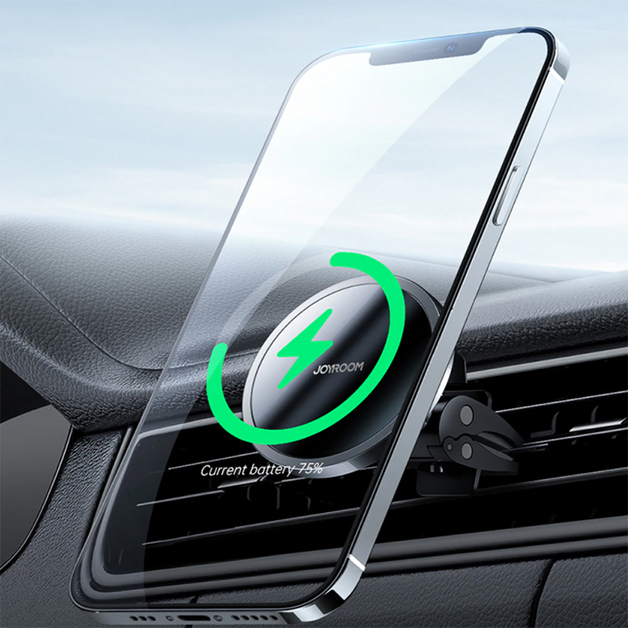 Mini Induction Magnetic Wireless Car Charger - For iPhone 12 Series (Black)