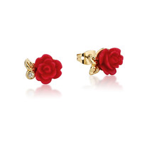 Disney Couture Beauty and the Beast Rose Studs - Yellow Gold