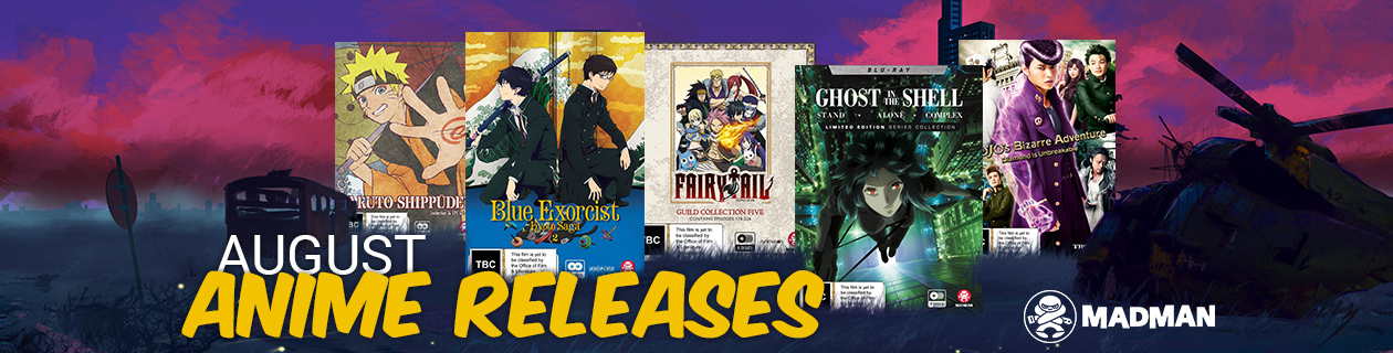 New Anime Releases for August!