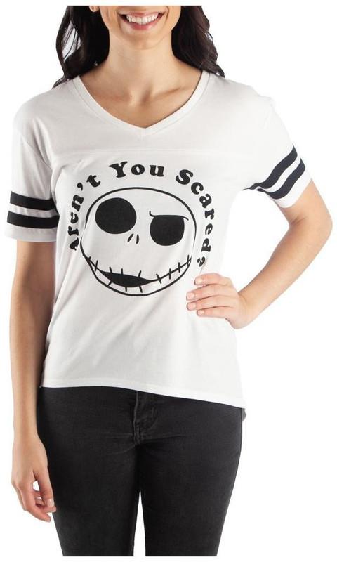 Nightmare Before Christmas Jack Yoked Hi-Lo V Neck T Shirt XL