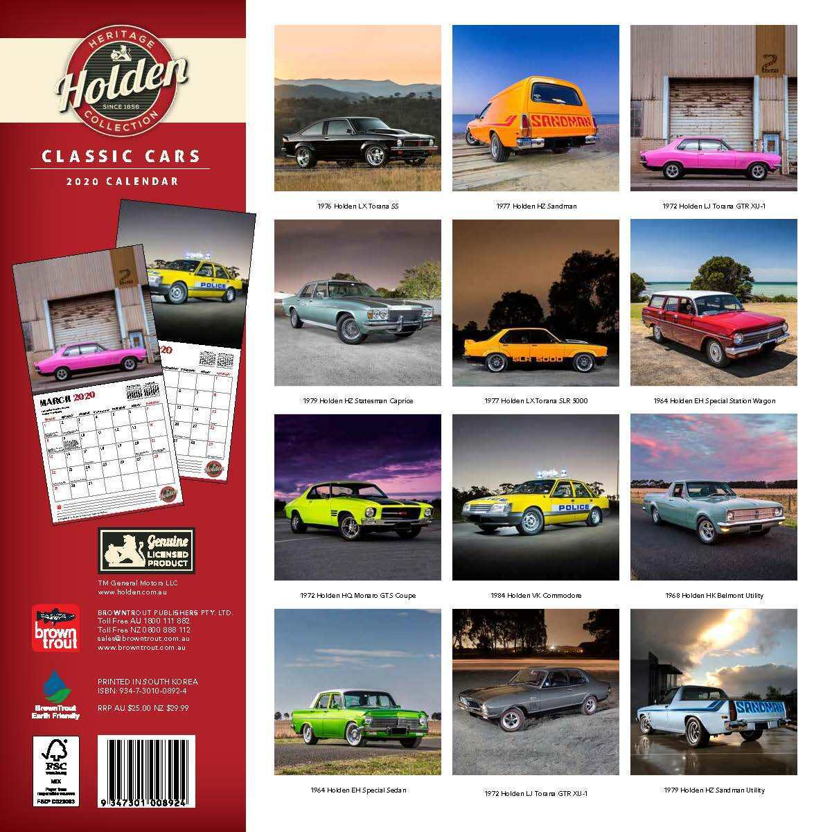 Classic Holden Cars 2020 Square Wall Calendar image