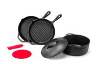 Ovela: 4 Piece Pre-Seasoned Cast Iron Set with Silicone Accessories