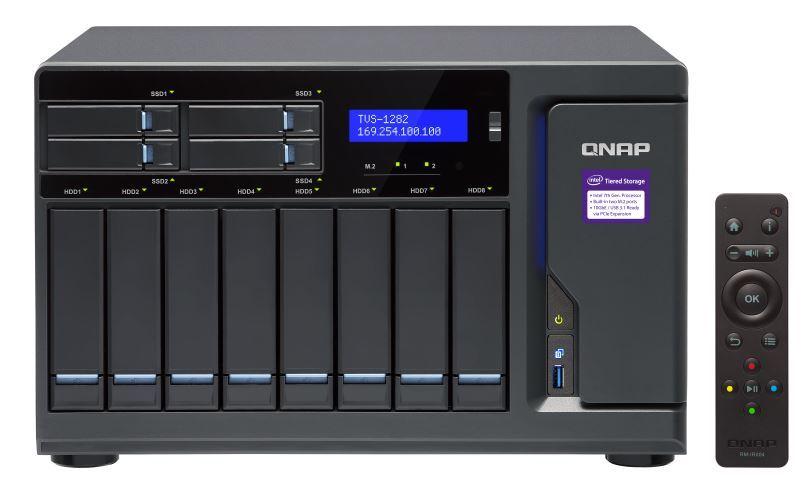 QNAP TVS-1282-I3-8G NAS,8+4+2 X M.2 SLOT(DISKLESS),8GB,I3-6700,USB,GbE(4),HDMI,TWR, 2YR image