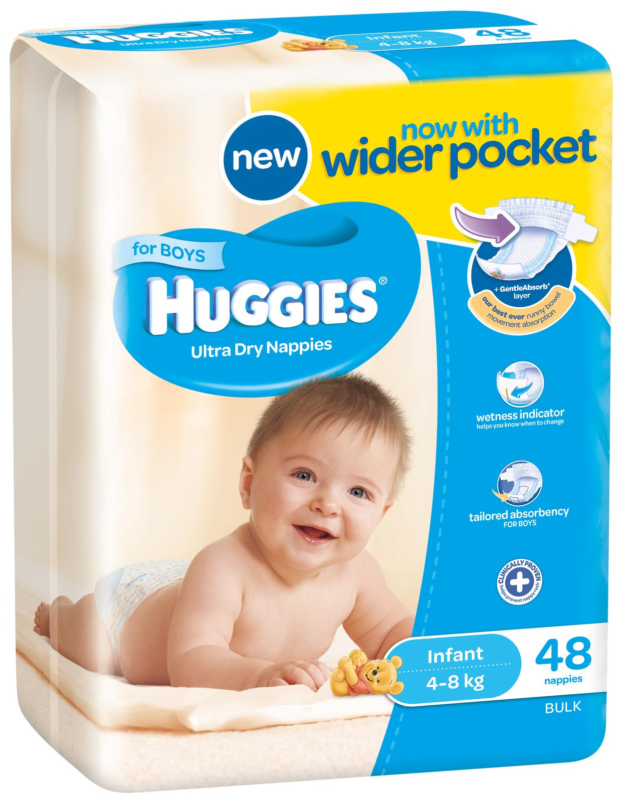 buy huggies nappies bulk infant boy 4 8kg 48 at mighty ape nz