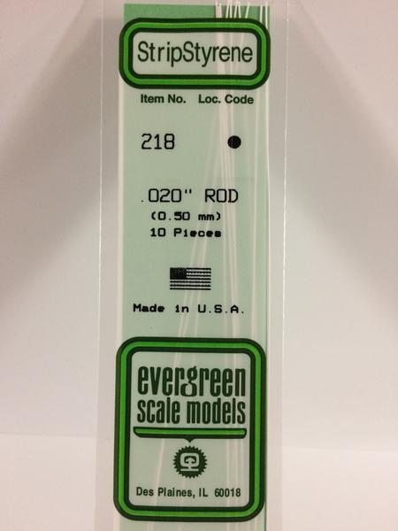 Evergreen Styrene Rod White 35cm Long X.50 mm (10)