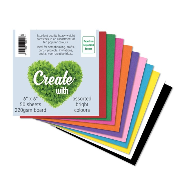 Cardstock 6x6' 220gsm - 10 Brights (50 Pack)