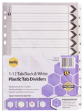 Marbig A4 Board 1-12 Reinforced Tab Dividers - Black & White
