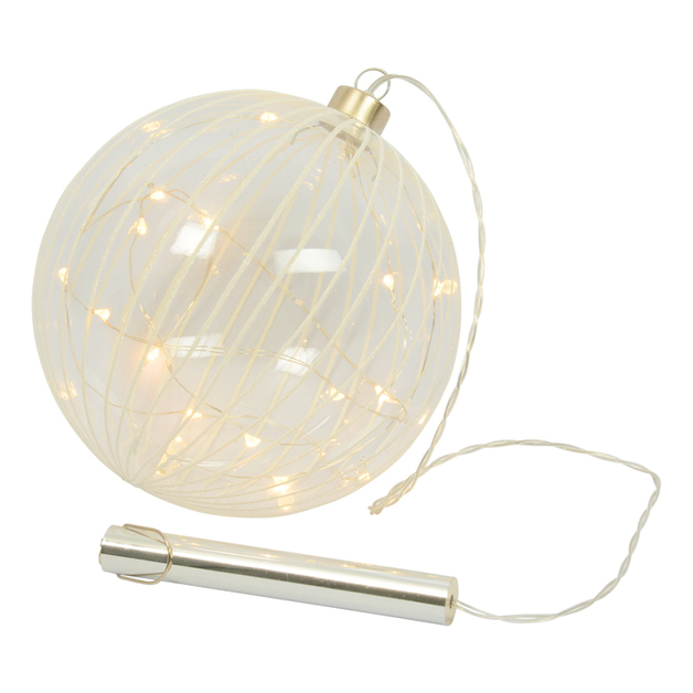 Hanging LED Glitter Stripe Glass Bauble (Large)