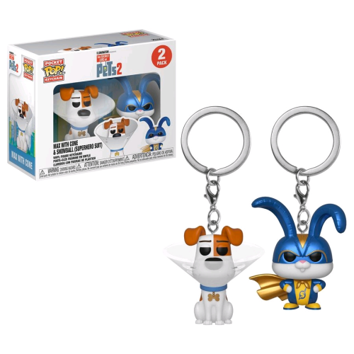 Pets 2 - Max & Snowball Pocket Pop! Keychain 2-pack