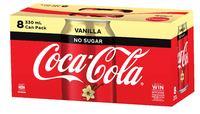 Coke No Sugar Vanilla Soft Drink Cans - 8 Pack (330ml)