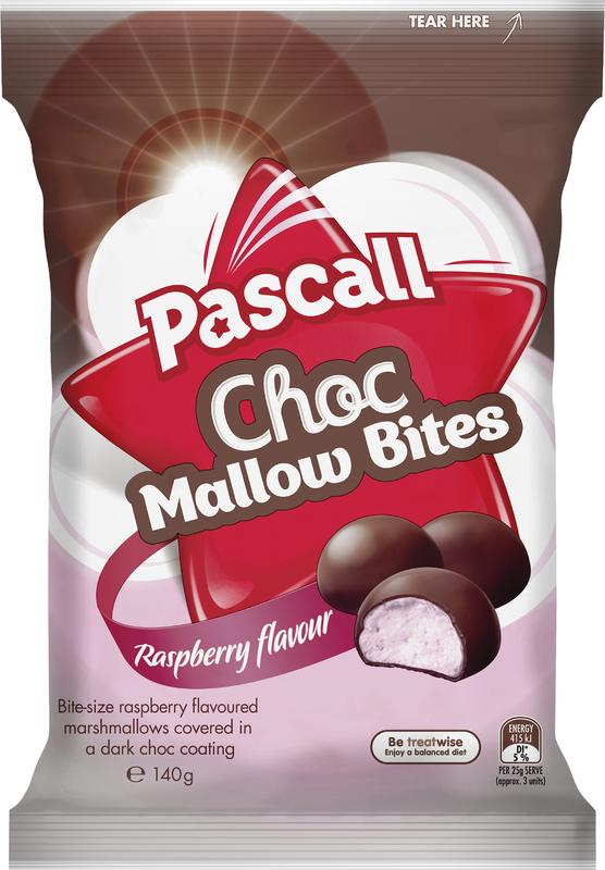 Pascall Choc Mallow Bites Raspberry 140g