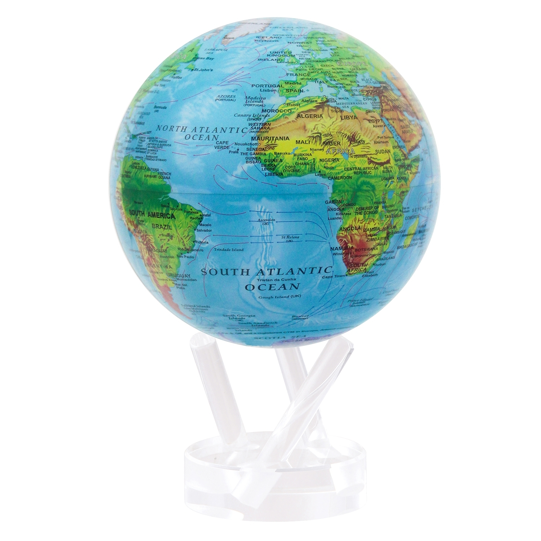MOVA: Self Rotating Globe - Relief Map Blue - 11.5cm image