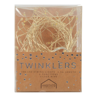 Twinklers: Indoor Warm White LED Lights - Silver Stem