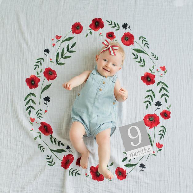 Little Unicorn: Photo Blanket & Milestone Set - Summer Poppy