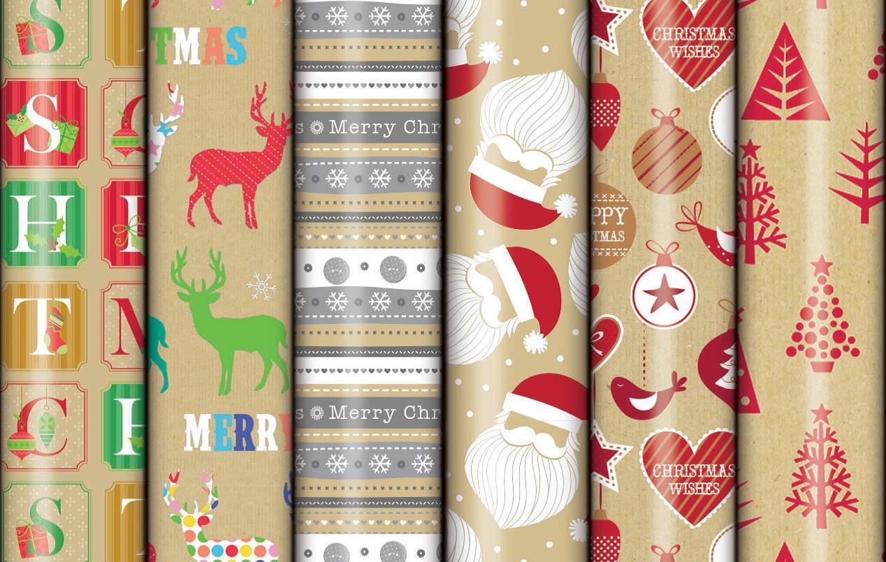 Christmas Roll Wrap - Kraft/Print (2M x 700mm) image