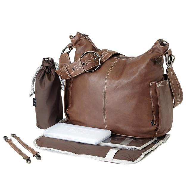 Oi Oi: Hobo Nappy Bag Leather Choc - Dec Strap