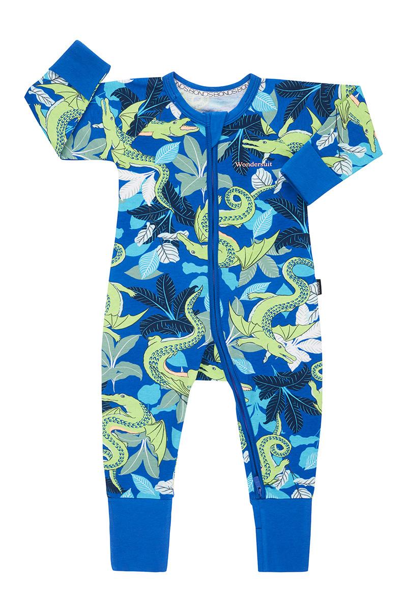 Bonds Zip Wondersuit Long Sleeve - Crocodragon Blue (12-18 Months) image