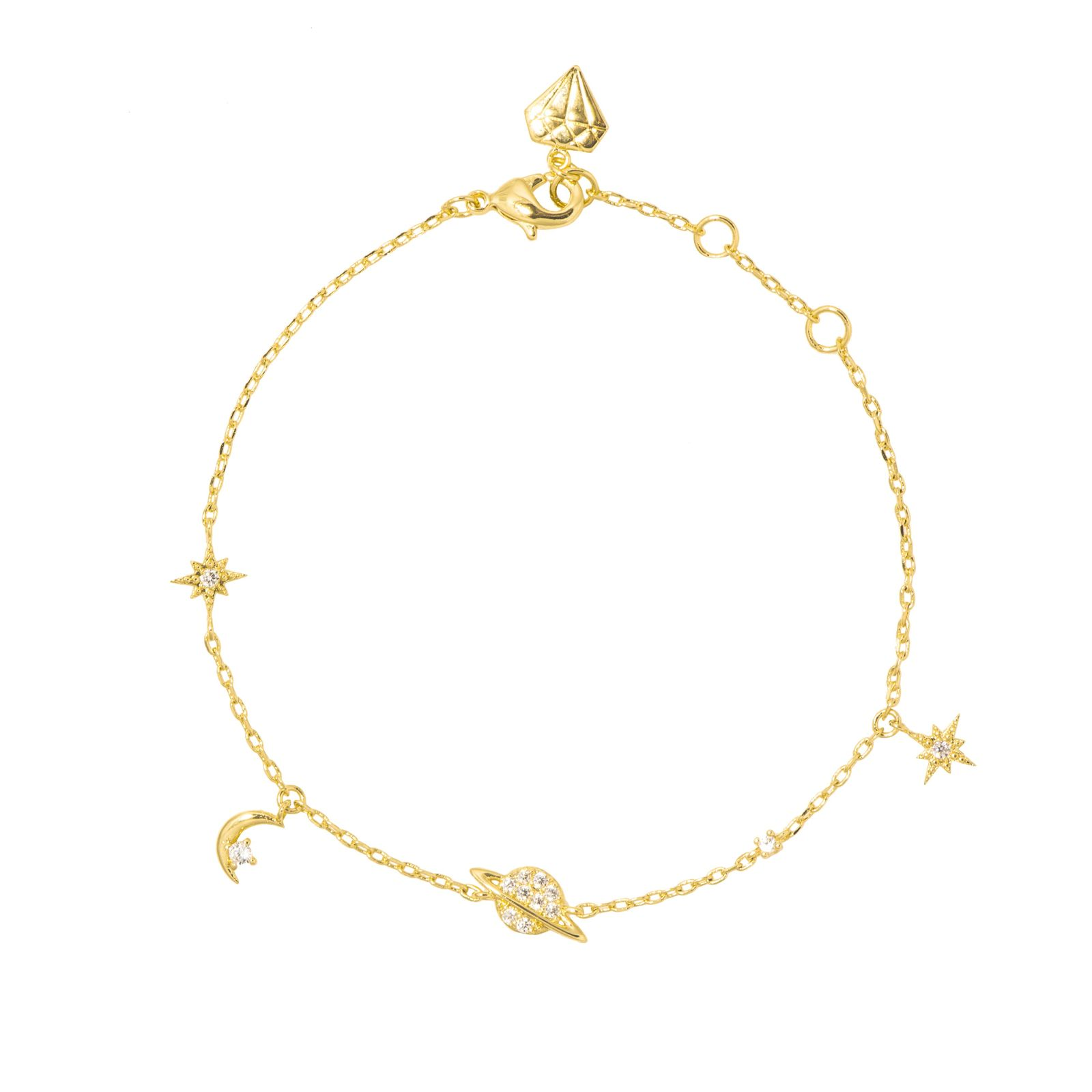 Wanderlust + Co: Drops of Saturn Gold Sterling Silver Bracelet image