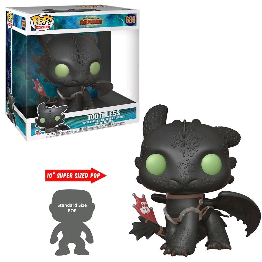"""How To Train Your Dragon 3: Toothless - 10"""" Super Sized Pop! Vinyl Figure image"""