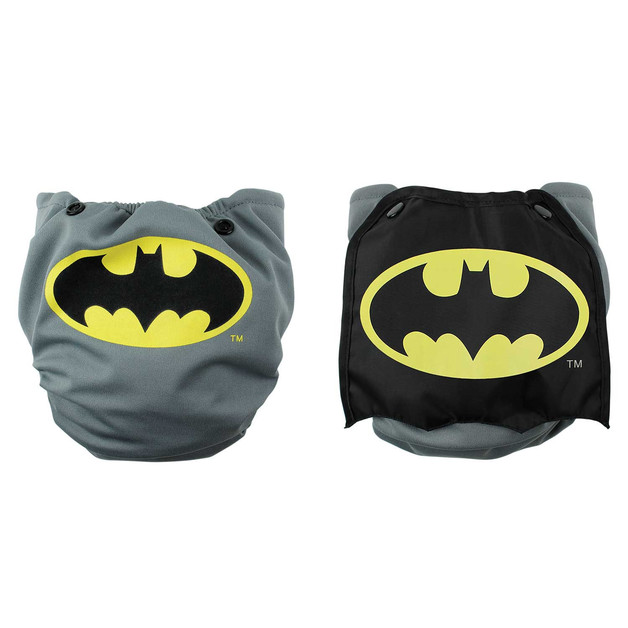 Bumkins DC Comics Snap in One Nappy with Cape - Grey Batman