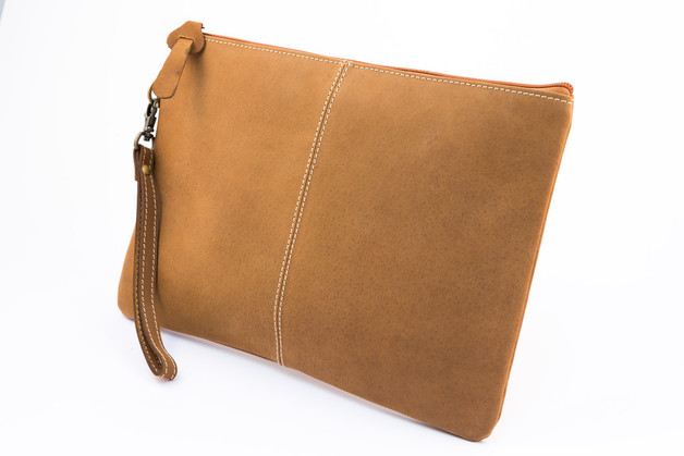 Millenium Paris: Paulette Large Clutch with Tartan Lining - Tan
