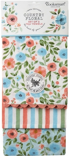 Cooksmart: Country Floral - 100% Cotton Tea Towels (3 Pack)