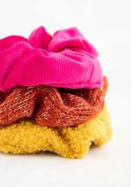 Natural Life: Cozy Scrunchies Set Of 3 - Rust/Pink