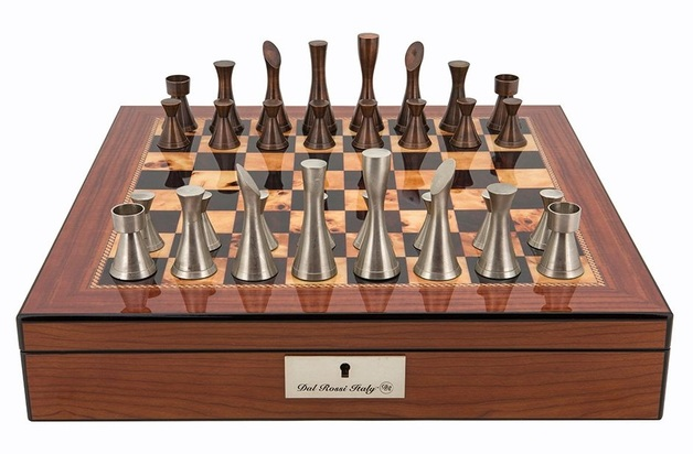 "Dal Rossi: Contemporary Metal - 16"" Chess Set (Walnut Finish)"