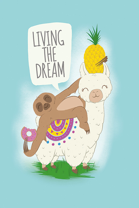 Living The Dream Maxi Poster - Llama and Sloth (922)